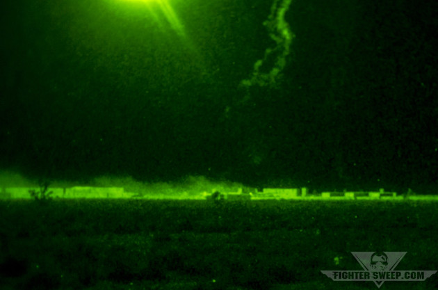 Parachute flares light up a village hiding an HVT and his henchmen out on Range 62 in the NTTR.