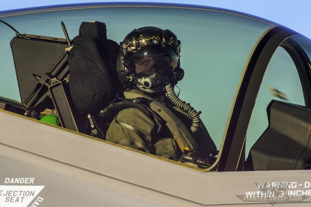 """Quatro"" Carvell, F-35A pilot with the 53 TEG at Nellis AFB, Nevada, taxis out for a test mission."