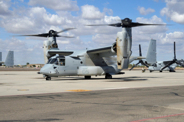 An MV-22B Osprey taxis out at MCAS Yuma for a training sortie.