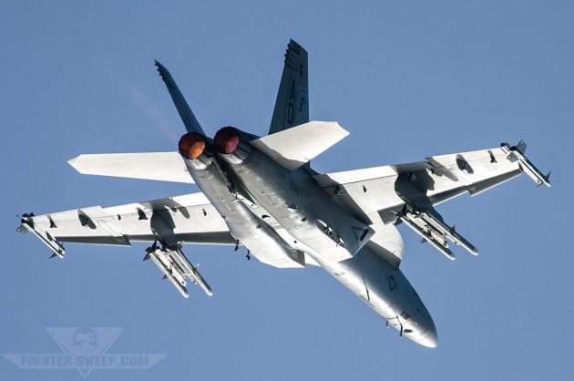 Boeing Super Hornet test pilot Ricardo Traven practices an airshow routine