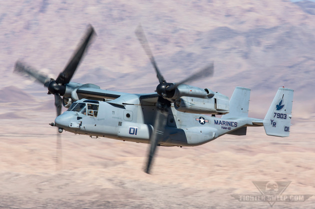 """An MV-22B from VMM-161 """"Greyhawks"""" shows off the Osprey's ability to fly like a fixed-wing aircraft"""