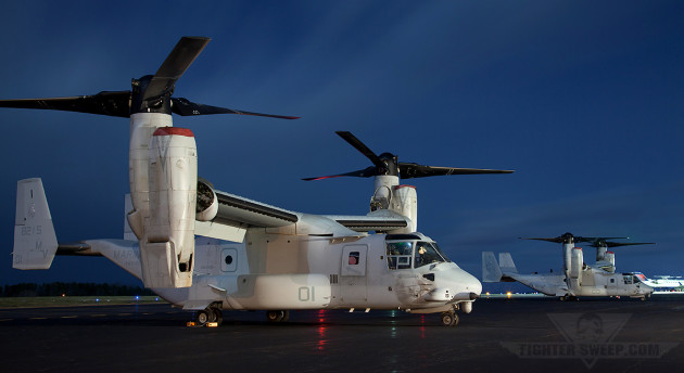 """A pair of VMX-22 """"Argonauts"""" Ospreys. The squadron was tasked with operational test and evaluation of the MV-22B."""