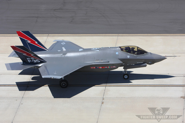 AF-01, the first F-35A, taxies back to the line at Edwards AFB after a successful test flight