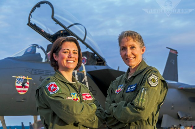 """Then-Lieutenant Colonel Nicole """"FIFI"""" Malachowski and Colonel Jeannie """"Tally"""" Leavitt in front of the jet they both fly, the mighty Boeing F-15E Strike Eagle."""