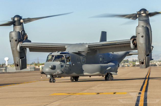 A USAF CV-22 Osprey from the 20th Special Operations Squadron taxis in to park at Mather Airport in Sacramento, CA.