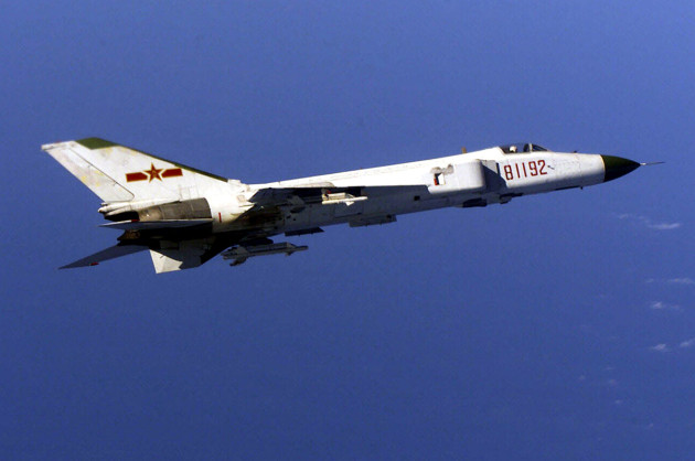 A PLA Shenyang J-8 flies near a US Navy aircraft (US DoD photo)