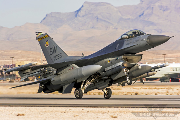 A Block 50 F-16CJ from the 79 FS lands at Nellis AFB, Nevada after completing a Red Flag training sortie.