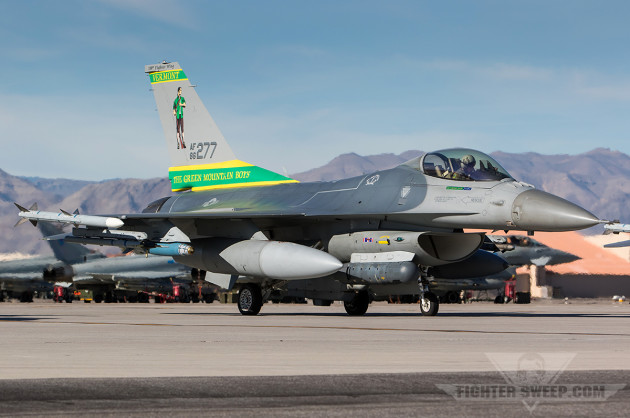 """The 158FW proudly wears """"Green Mountain Boys"""" on the tail"""