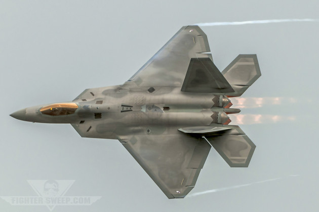 An F-22A Raptor from the 90th Fighter Squadron carves through the airspace over Joint-Base Elmendorf Richardson in Alaska.