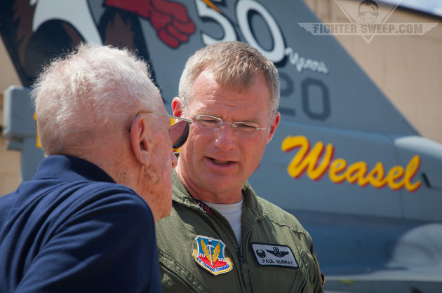 Col Paul Murray, 20th OG Commander, speaks with Lt Col Allen Lamb (ret.) at the WWTC. Lamb scored the first SAM kill for the Weasels in late 1965