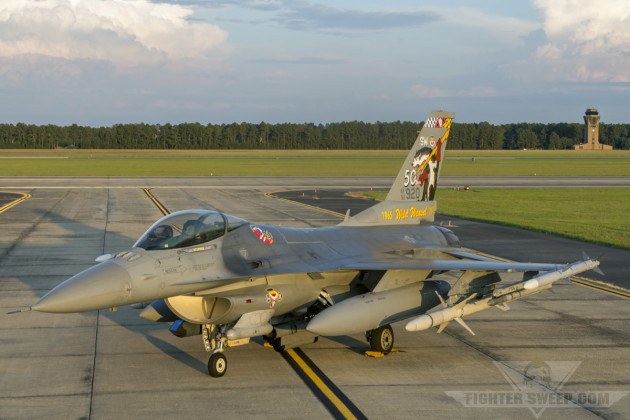 """The 20th Fighter Wing Commander's jet, """"Slapshot,"""" sits on taxiway Echo at Shaw Air Force Base, South Carolina during sunset. (Photo by Scott Wolff)"""