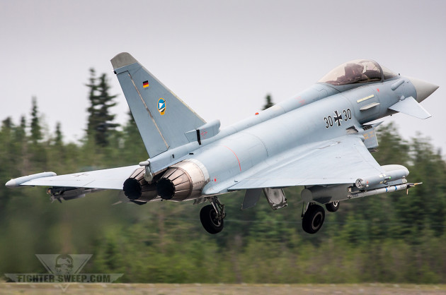 A German Air Force Typhoon takes off during a Red Flag-Alaska mission. The German Air Force is one of several nations which currently operate the Eurofighter only in an air superiority role