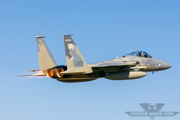 A McDonnell Douglas (Boeing) F-15C Eagle departs Kingsley Field for a morning DCA VUL during Sentry Eagle 2015.