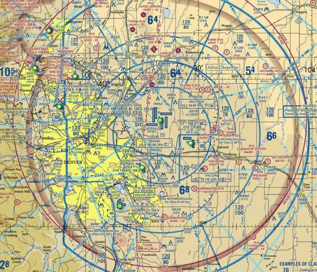 A portion of a section chat shows the airspace over the greater Denver, Colorado area.