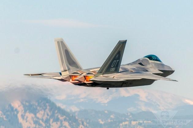 An F-22 Raptor takes off from Rocky Mountain Metropolitan Airport near Broomfield, Colorado.