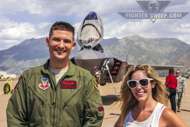"""Rachelle with """"Hitman,"""" the Director of Operations for the 34th Fighter Squadron """"Rude Rams."""""""