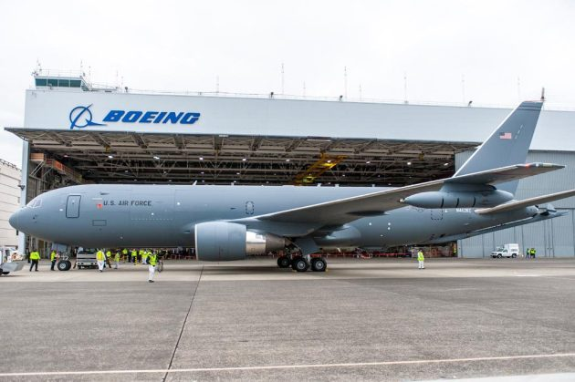 The Boeing-built KC-46A Pegasus tanker at Boeing Field, Seattle, after its first flight, Sept. 25, 2015. (Photo courtesy of Boeing)