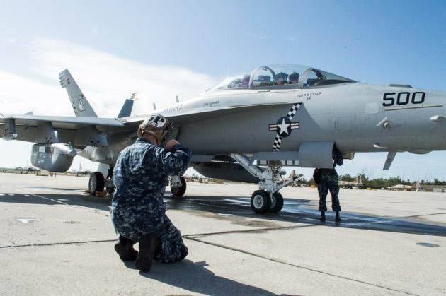 "The ""CAG"" jet from the ""Rooks"" of VAQ-137. (Photo courtesy of VAQ-137)"