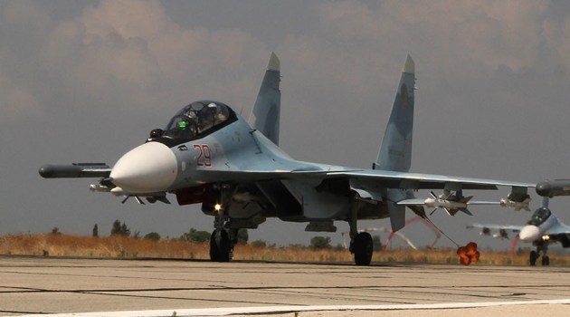 A Sukhoi Su-30SM of the Russian Air Force taxis at its deployed location in Syria. (Photo courtesy of RT)