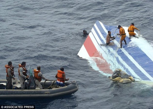 The vertical stabilizer from the Air France A330 floats in the Atlantic after flight 447 crashed in June 2009 (AP photo)