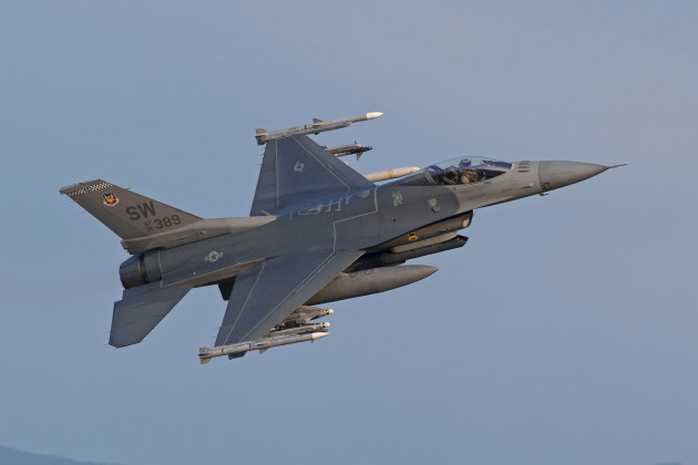 "A Block 50 F-16CJ gets airborne for a mission during Operation Unified Protector. Photo courtesy of ""Maverick"""