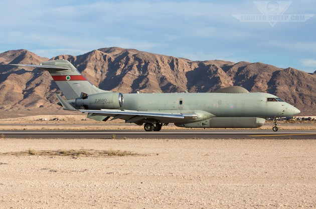 An RAF Sentinel R1 recovers to Nellis AFB, Nevada During a Red Flag period.
