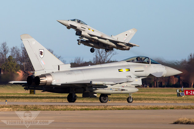 A pair of RAF Typhoons from 11(F) Sqn launching from Langley during the Trilateral exercise (photo by Jonathan Derden)