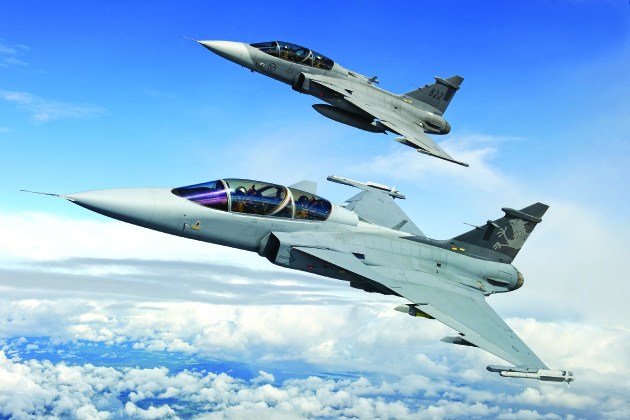 """Saab JAS-39 """"Gripen"""" strike fighters are rumored to be under consideration to replace the Finnish Air Force's aging fleet of Boeing F/A-18C/Ds. (Photo courtesy of Saab)"""