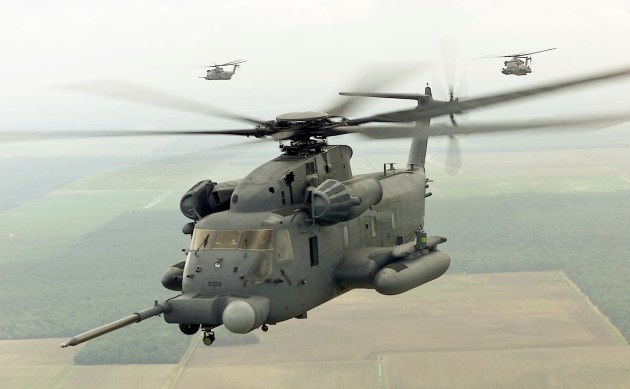 MH-53 of the 20th Special Operations Squadron Hurlburt Field Fl., flies over the local area.