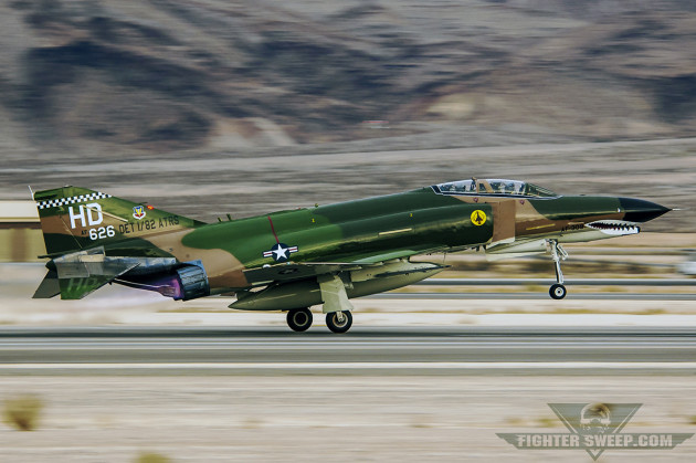 A McDonnell Douglas QF-4E Phantom II takes off at Nellis Air Force Base, Nevada. (Photo by Scott Wolff)
