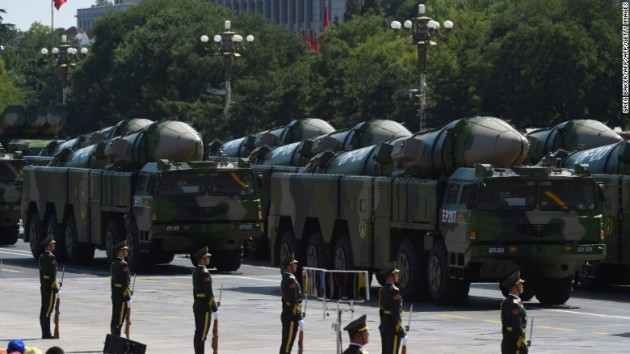 """Chinese DF-21 """"Carrier Killer"""" missiles on parade. (Photo courtesy of CNN)"""