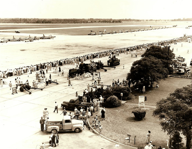 Thousands of men, women and children attend one of the first open houses held at Shaw Air Force Base, S.C., May 16, 1954. During the open house, attendees saw demonstrations from armed forces personnel such as helicopter rescue teams, and got an up-close look at modern aircraft of the time, including B-25 Mitchells, RB-54A Canberras and RF-80 Shooting Stars, all of which are no longer in service. (Photo courtesy of 20th Fighter Wing historian)