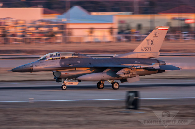 """An F-16D from the 457FS """"Spads"""" takes off on an evening NVG sortie (photo by Jonathan Derden)"""