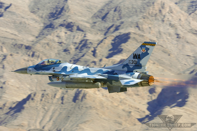 A Block 25 F-16C from the 64th Aggressor Squadron departs Nellis Air Force Base, Nevada during Red Flag 16-1. (Photo by Scott Wolff)