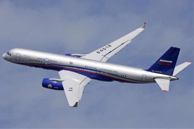 """Another angle of the Tupolev Tu-214ON """"Open Skies"""" IMINT platform. (Photo courtesy of Wikimedia Commons)"""