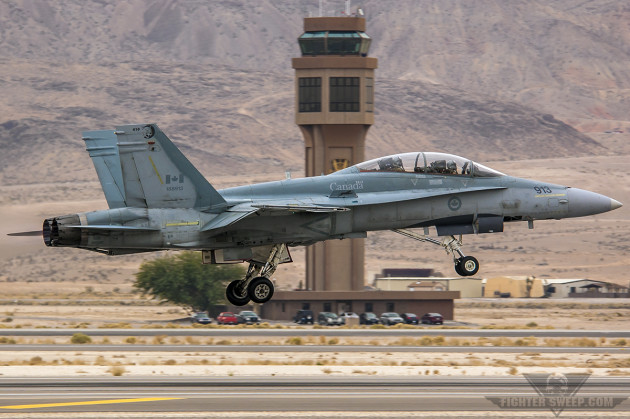 A Royal Canadian Air Force CF-188 Hornet gets airborne at Nellis Air Force Base, Nevada during the Aviation Nation Airshow. (Photo by Scott Wolff)