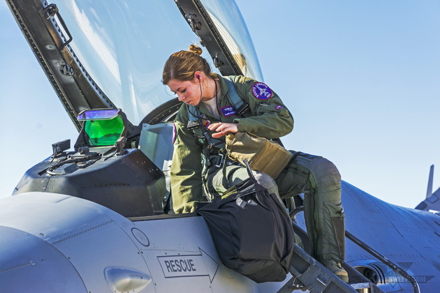"""VITA,"" like other female pilots in today's Air Force, can all trace the heritage of their ability to fly and serve to the WASPs. (Photo by Scott Wolff)"