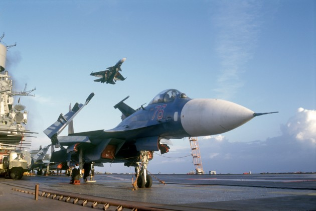 Sukhoi Su-33 Flanker-Ds aboard the Russian aircraft carrier Admiral Kuznetsov. (Courtesy of su27flanker.com)
