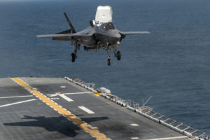 An F-35B Lightning II aircraft takes off from the amphibious assault ship USS Wasp (LHD 1) during the second at-sea F-35 developmental test event. (U.S. Navy photo courtesy of Lockheed Martin by Todd R. McQueen/Released)/Released)
