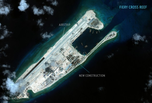 Fiery Cross Reef, seen here in a satellite image, is one of the main hubs of China's operations in the South China Sea. (Photo courtesy of amti.csis.org)