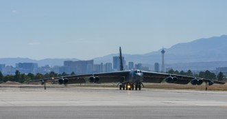 A B-52 Stratofortress, 96th Bomb Squadron, Barksdale Air Force Base, La., taxis before takeoff during Red Flag 16-3 at Nellis Air Force Base, (U.S. Air Force photo by Senior Airman Kristin High/Released)