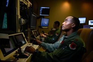Maj. Bishane, a 432nd Aircraft Maintenance Squadron MQ-9 Reaper pilot, controls an aircraft from Creech Air Force Base, Nevada. (U.S. Air Force photo by/Staff Sgt. Vernon Young Jr.)