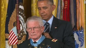 Lt Col Charles Kettles receives the Congressional Medal of Honor from President Obama, July 18, 2016. Photo credit: CNN