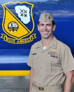 """Navy Lt. Damon Kroes, 34, of Fremont, California, is an F/A-18 Hornet Instructor Pilot currently assigned to Marine Fighter Attack Training Squadron 101 (VMFAT-101), the """"Sharpshooters,"""" at Marine Corps Air Station Miramar, California. He is a 2006 graduate of San Diego State University, San Diego."""