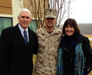 Proud parents with the newly commissioned 2Lt. (Credit: Twitter @mike_pence)