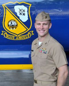 """Navy Lt. Nate Scott, 31, of Danville, California, is an F/A-18 Hornet Instructor Pilot currently assigned to Strike Fighter Squadron ONE ZERO SIX (VFA-106), the """"Gladiators,"""" at NAS Oceana, Virginia. He is a 2007 graduate of the University of Southern California, Los Angeles."""