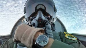 The Bremont U-2 Squadron watch at the top of a loop in the Northrop T-38 Talon