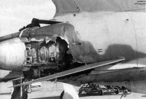 F-105 with SAM damage (Wikipedia)