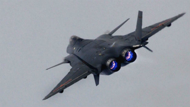 Chinese J-20 in full burner. Note lack of LO treatments and designs around engine and tail.