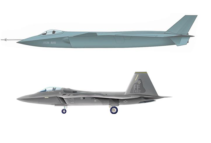 J-20 and F-22 length comparison.